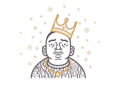Big Poppa smash fools illustration avatar icon character vector east side biggie crown bling