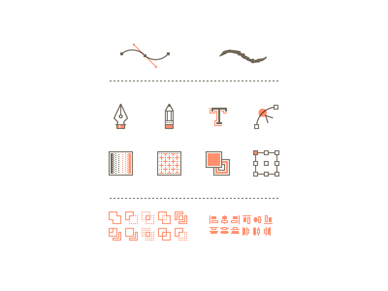 VM Icons icons vector pen pencil type anchor pattern gradient align pathfinder