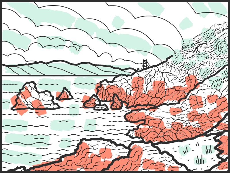 Lands End illustration sf ocean hills bridge mountains color sketch