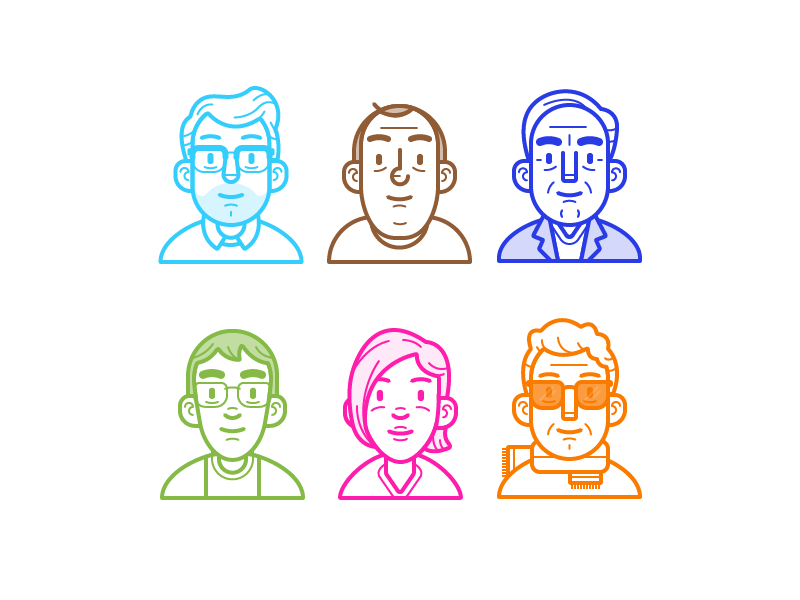 Character Design Icon : Shift avatars by ryan putnam dribbble