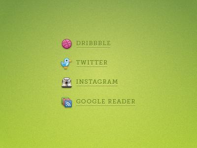 Blog Icons illustrator vector icons dribbble twitter instagram camera rss google reader share texture