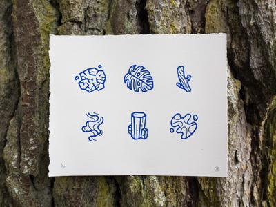 Earth Block Print rock smoke pattern wood water leaf printmaking earth print illustration