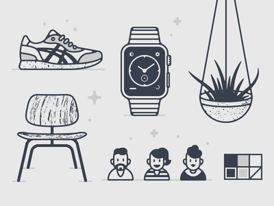 Operator Illos character avatar plant apple watch chair shoes vector illustration