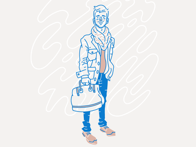 Style illo man bag fashion character figure illustration vector
