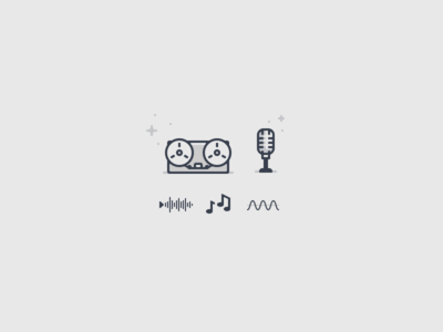 Operator Icons 03 sparkles notes wave eq mic tape music icon illustration vector