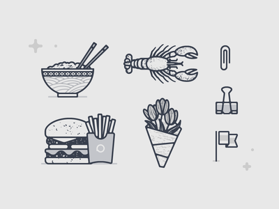 Operator Illos 03 paperclip. flowers burger noodles rice lobster icon illustration vector