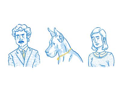 Portrait Sketches doodlw drawing man woman mustache dog sketch portrait