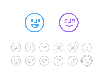 Operator Bots ios expressions ai bot face vector illustrations icons