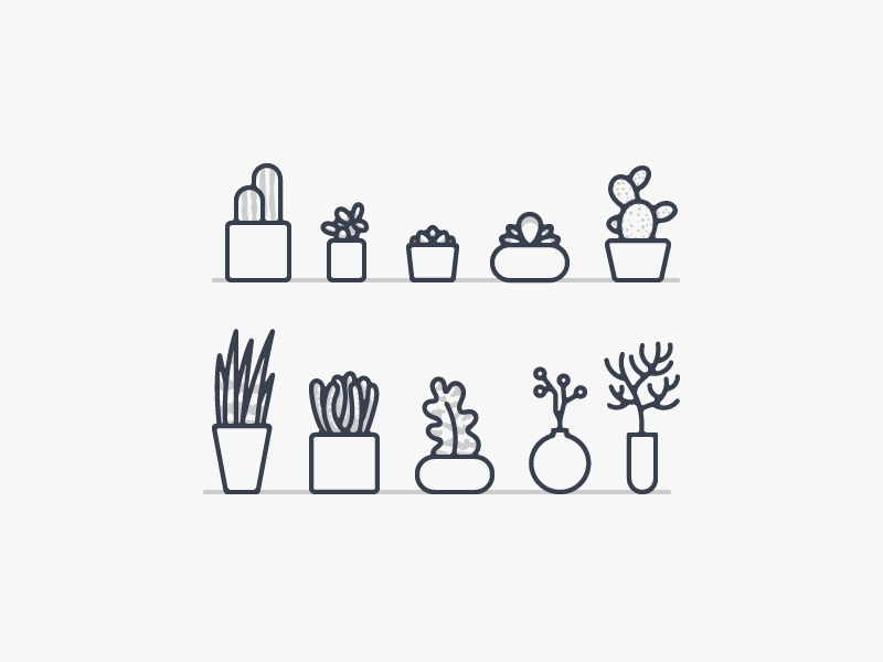 Operator Plant Icons nature succulent cactus plants vector illustration icons