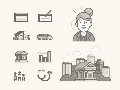 Unused Icons avatar woman bank house car building vector icons illustration
