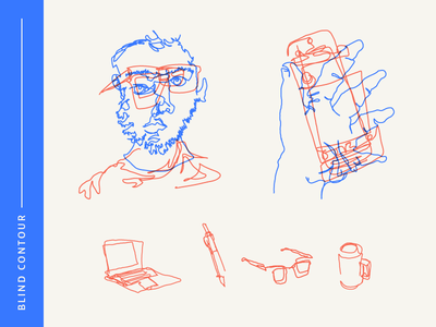 Blind Contour pencil computer coffee portrait drawing doodle blind abstract exercise illustration vector
