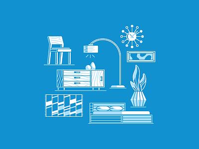 SF Guide Elements 04 icons rug bed lighting art furniture illustration vector