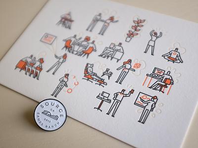 Source Goodies art enamel pin letterpress print illustration