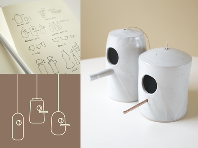 Ceramics Process process. tactile sketches birdhouse vector ceramics pottery