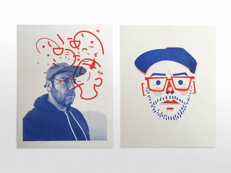 Riso Selfies face avatar charcater photo self-portrait portrait riso print illustration