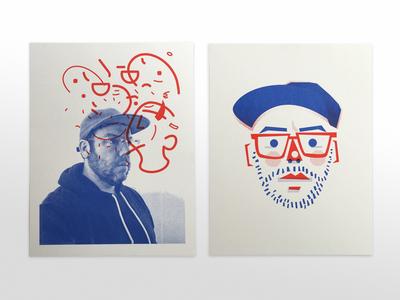 Riso Selfies face avatar charcater photo self-portrait portrait riso print illustration