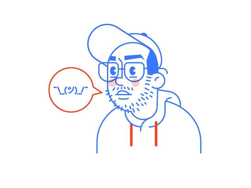 ¯\_(ツ)_/¯  selfie shrug character avatar vector icon illustration