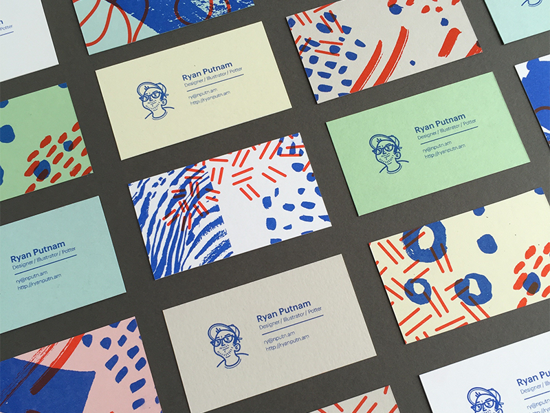 Business Cards riso pattern texture hand-drawn business cards print layout
