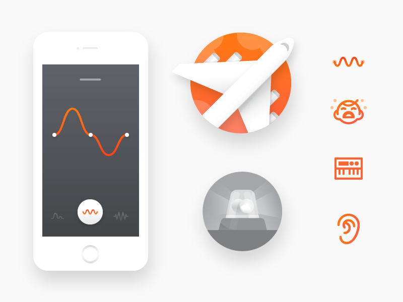 Here One Icons and Illustrations vector siren ear synth baby plane elements ui icons illustrations