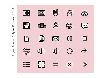 Figma Icons save rock tape camera free vector ui figma icons illustration