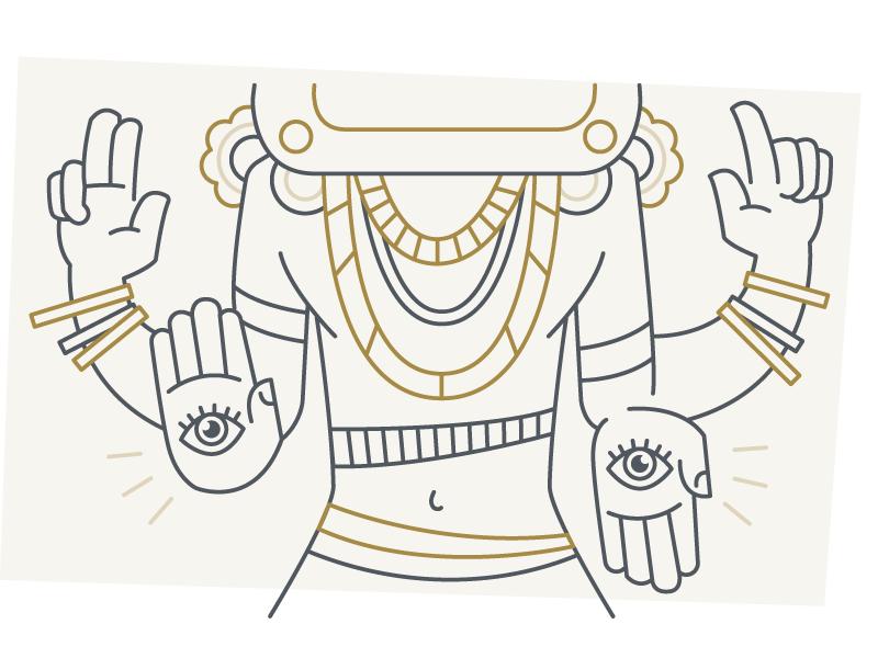 Random Art jewelry illustration eyes line vector