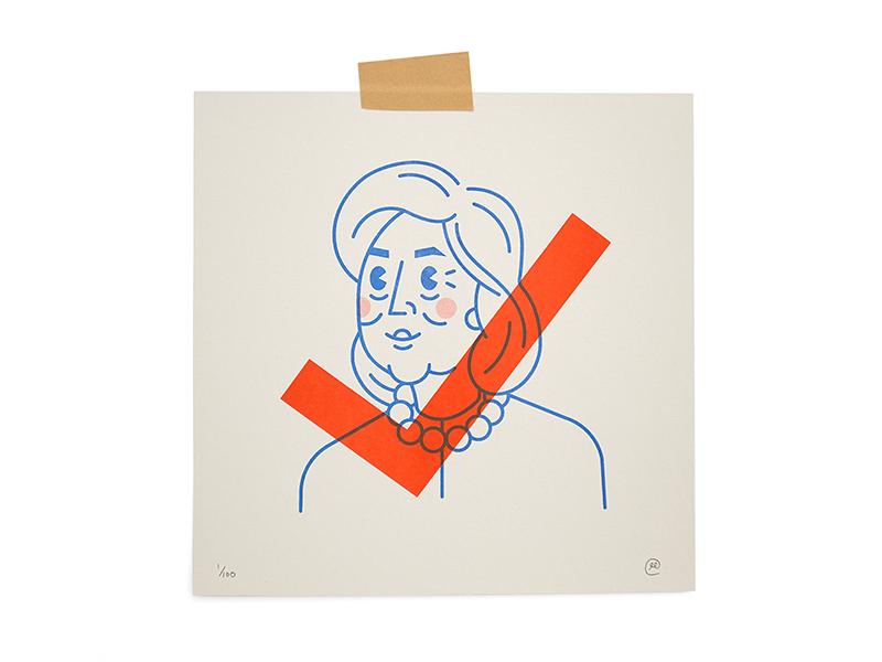 Hillary Prints riso print character vote illustration