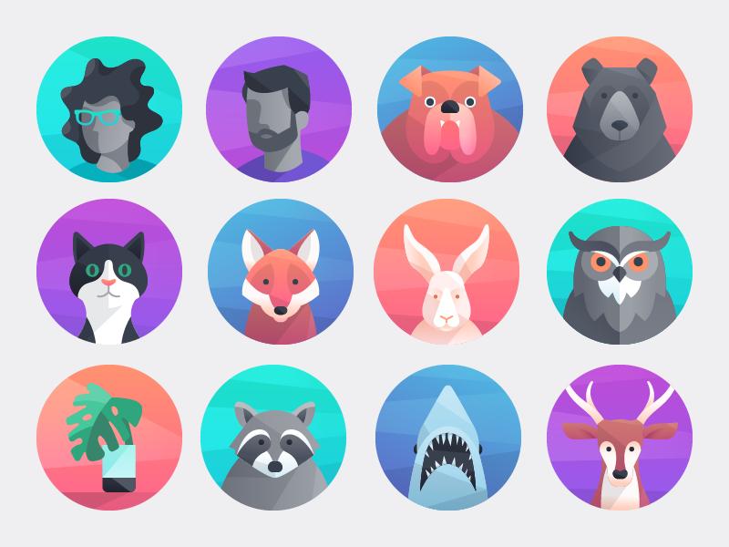 Comcast Digital Home Avatars plant shark bear cat dog vector icons character avatar illustration