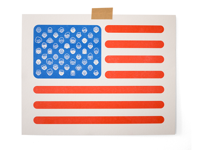 All Of Us america usa flag immigrant refugee riso print