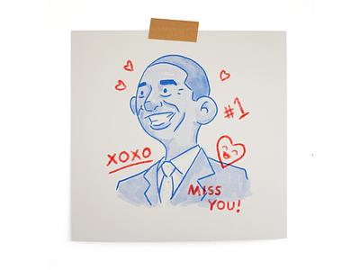 Miss You politics obama print riso sketch character avatar illustration