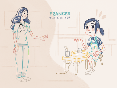 Frances Concepts texture hand-drawn girl woman pottery potter character illustration