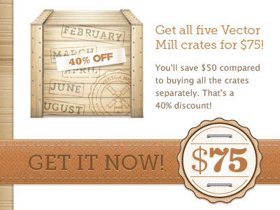 Vector Mill Cyber Monday vector illustrator crate texture seal deal sale ribbon typography staple