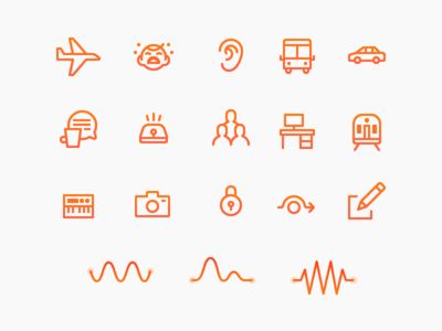 Here One Icons waveform ui ear baby plane app icons illustration