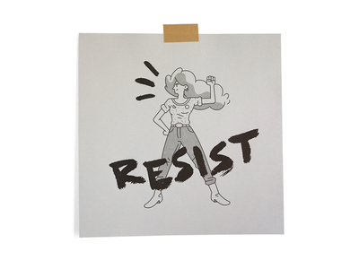 Matriarchy 1 resist brushed vector typography riso print woman illustration