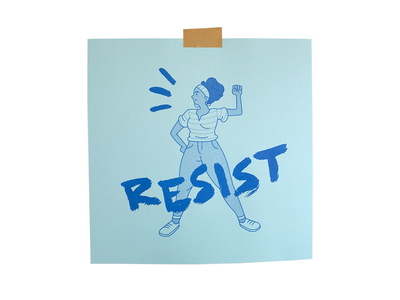 Matriarchy 2 resist brushed vector typography riso print woman illustration