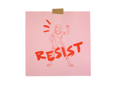 Matriarchy 3 resist brushed vector typography riso print woman illustration