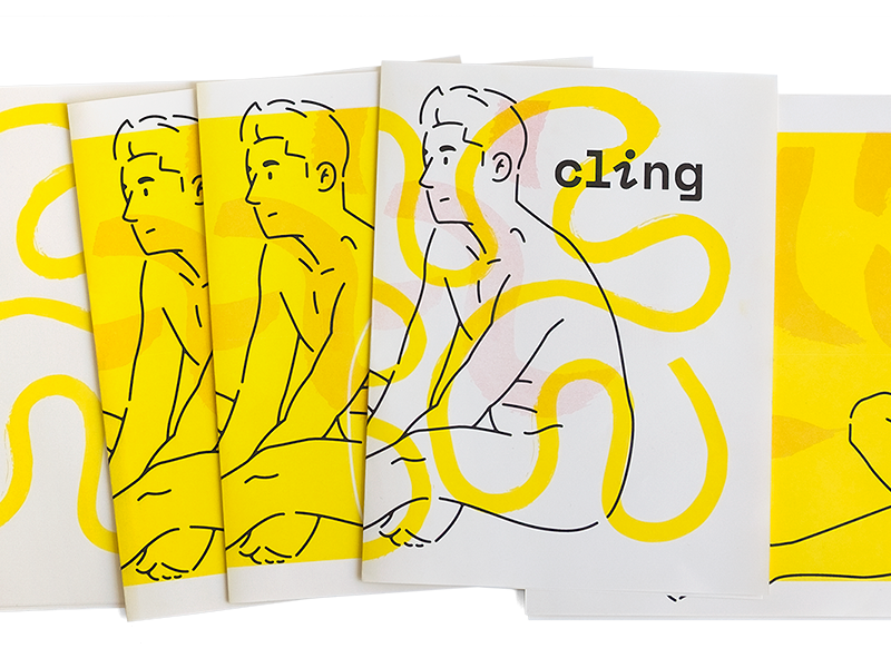 Cling Cover Tests brush texture man woman hug figure print riso illustration