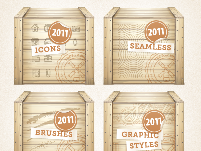 Vector Mill 2011 Crates vector illustrator crate texture seal deal sale ribbon typography staple