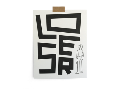Loser 03 riso print typography illustration