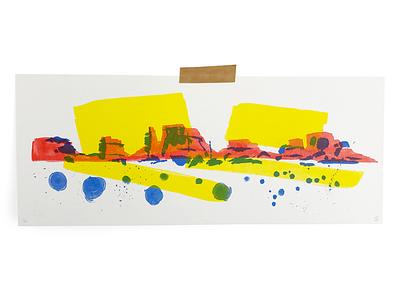 Valley Print utah bushes paint rocks brushed riso print landscape illustration
