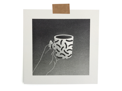 Pottery 03 hand coffee mug pottery ceramics riso print illustration