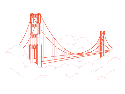 Golden Gate fog clouds bridge sf golden gate bridge vector illustration