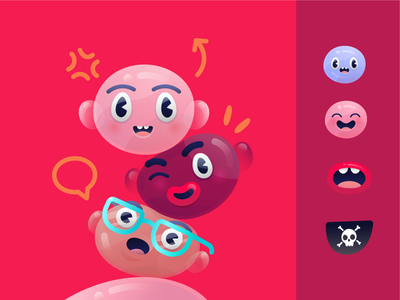 Bloop patch mouth bubble avatar faces character illustration