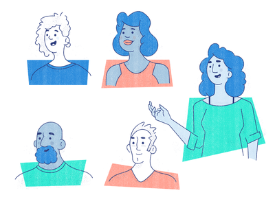 MessageBird People character portraits texture avatar people icons illustration