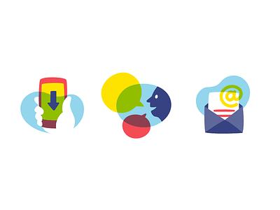 Gretchen Rubin Icons letter email bubble person talk phone icon illustration