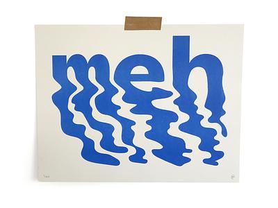Meh nope illustration print riso typography