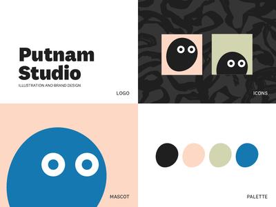 Putnam Studio Brand typography bloob texture illustration identity mascot logo brand