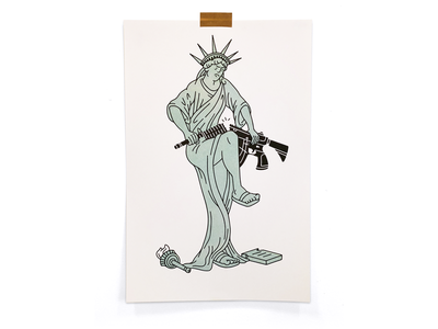 Enough enough usa angry break gun statue of liberty illustration