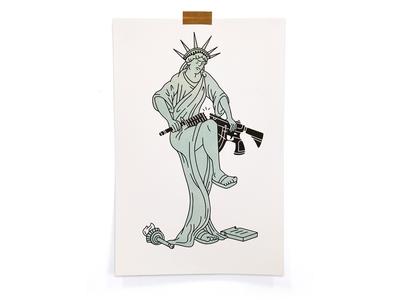 Enough enough usa angry break gun statue of liberty illustration