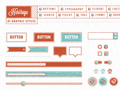 VM Heritage UI Graphic Style vector illustrator ui typography texture vintage wood buttons tag radio bar slider