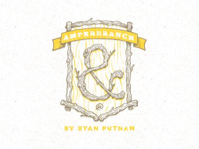 Amperbranch Logo logo sketch hand-drawn wood branch seal crest brand branding rustic